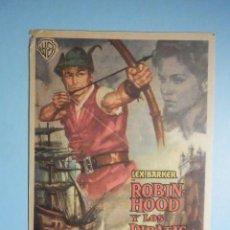 Cine: FOLLETO DE MANO - CINE , PELÍCULA, FILM - ROBIN HOOD Y LOS PIRATAS - CINE IDEAL - 1963. Lote 233598860