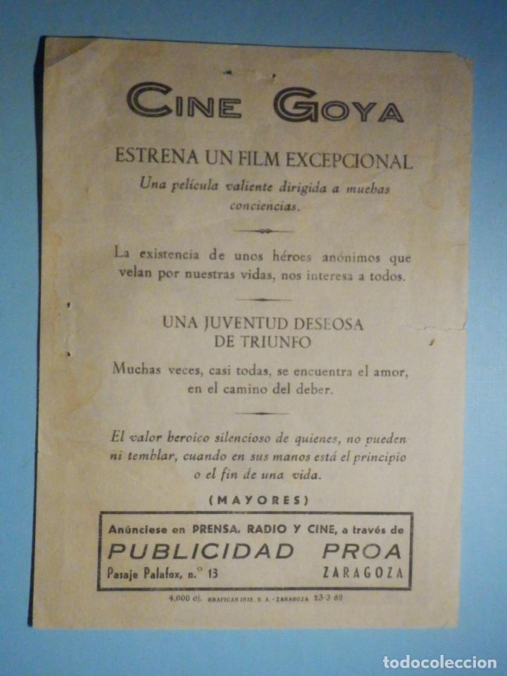 Cine: Folleto de Mano - Cine , Película, film - Vivir de lo que importa - 1962 - Cine Goya Zaragoza - Foto 2 - 233598985