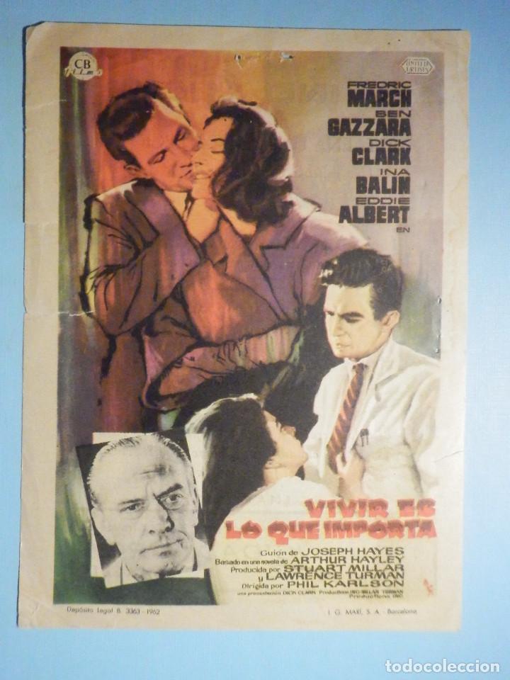 FOLLETO DE MANO - CINE , PELÍCULA, FILM - VIVIR DE LO QUE IMPORTA - 1962 - CINE GOYA ZARAGOZA (Cine - Folletos de Mano - Drama)