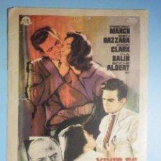 Cine: FOLLETO DE MANO - CINE , PELÍCULA, FILM - VIVIR DE LO QUE IMPORTA - 1962 - CINE GOYA ZARAGOZA. Lote 233598985