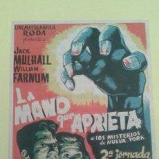 Cine: LA MANO QUE APRIETA 2ª JORNADA EL ENEMIGO INVISIBLE ORIGINAL C.P. SALON AVENIDA MOLLET. Lote 233705955