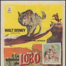 Cine: PROGRAMA SENCILLO DE LA LEYENDA DE LOBO (1962) - CINE BOSTON DE BENICALAP. Lote 233844310
