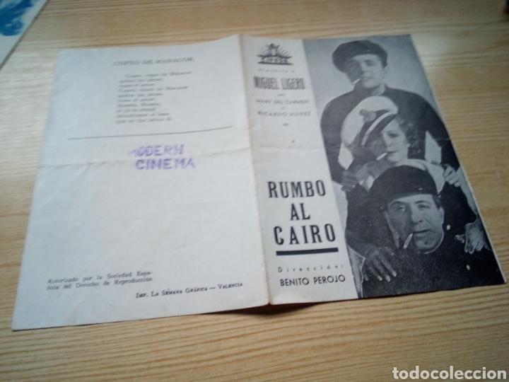 PROGRAMA DE CINE DOBLE. RUMBO AL CAIRO. POR MIGUEL LIGERO. AÑOS 30. MODERN CINEMA (Cine - Folletos de Mano - Clásico Español)