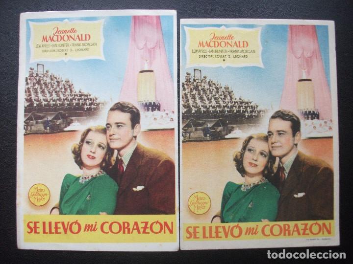 SE LLEVÓ MI CORAZÓN, JEANETTE MACDONALD, VARIANTE (Cine - Folletos de Mano - Drama)