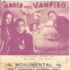 Cine: PTEB 067 LA MARCA DEL VAMPIRO PROGRAMA DOBLE MGM BELA LUGOSI TOD BROWNING LIONEL BARRYMORE E. ALLAN. Lote 234421000