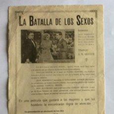 Cine: PROGRAMA CINE MUDO. LA BATALLA DE LOS SEXOS, 1928, UNITED ARTIST. DON ALVARADO, D.W. GRIFFITH, ETC... Lote 234426115
