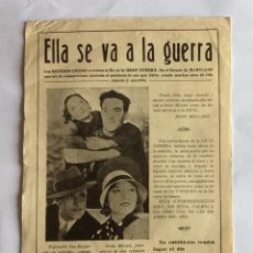 Cine: PROGRAMA CINE MUDO. ELLA SE VA A LA GUERRA, 1929, UNITED ARTIST. JOHN HOLLAND, ELEANOR BOARDMAN, ETC. Lote 234426500
