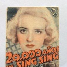 Cine: PROGRAMA CON CINE IMPRESO. WARNER. 20000 AÑOS EN SING SING. SPENCER TRACY, BETTE DAVIS.. Lote 234556070