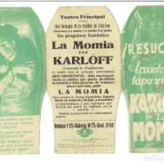 Cine: LA MOMIA -PROGRAMA TROQUELADO TRÍPTICO CON CINE (1934)- MUY RARO.. Lote 234618110
