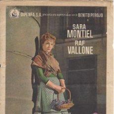 Cine: LA VIOLETERA. SARA MONTIEL. CINE PALAFOX DE ZARAGOZA. 1958. Lote 234638485