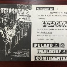 Cine: CREEPSHOW 2 FOLLETO DE MANO ORIGINAL ESTRENO PERFECTO ESTADO CON CINE IMPRESO. Lote 234687320