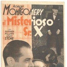 Cine: PTEB 057 EL MISTERIOSO SR. X PROGRAMA TARJETA MGM ROBERT MONTGOMERY ELIZABETH ALLAN. Lote 234768805