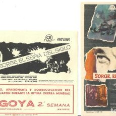 Cine: PTEB 057 SORGE EL ESPIA DEL SIGLO 2 PROGRAMAS CB MARIO ADORF. Lote 234772040