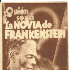 Cine: PTEB 057 LA NOVIA DE FRANKENSTEIN PROGRAMA DOBLE ORIGINAL PEQUEÑO UNIVERSAL BORIS KARLOFF TERROR. Lote 234772655