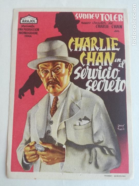 CHARLIE CHAN EN EL SERVICIO SECRETO PROGRAMA SENCILLO ARAJOL SIDNEY TOLER (Cine - Folletos de Mano - Acción)