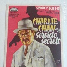 Cine: CHARLIE CHAN EN EL SERVICIO SECRETO PROGRAMA SENCILLO ARAJOL SIDNEY TOLER. Lote 234783260