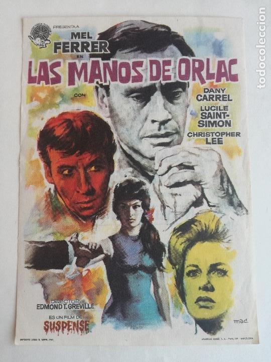 EN VENTA DIRECTA PROGRAMA LAS MANOS DE ORLAC (MEL FERRER - CHRISTOPHER LEE - DANY CARREL) PUBLICIDAD (Cine - Folletos de Mano - Aventura)