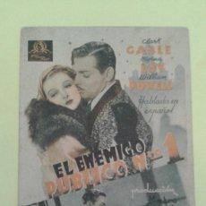 Cine: EL ENEMIGO PUBLICO NUMERO 1 CLARK GABLE TARJETA MGM ORIGINAL C.P DOS CINES (EN CATALAN). Lote 234863310