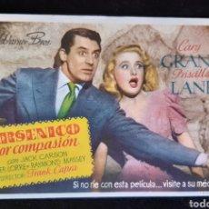 Cine: PROGRAMA DE MANO DE LA PELÍCULA ARSENICO POR COMPASIÓN CON GARY GRANT. AÑOS 40.. Lote 234937185