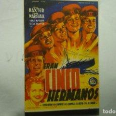 Flyers Publicitaires de films Anciens: PROGRAMA ERAN 5 HERMANOS -RHOMAS MITCHELL-SELLO TAMPON CINE DEPORTES -BELLVIS Y OTROS. Lote 235198010
