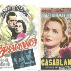 Folhetos de mão de filmes antigos de cinema: ZE31D CASABLANCA 2 PROGRAMAS LOS 2 MODELOS DE SENCILLO INGRID BERGMAN HUMPHREY BOGART. Lote 235201625
