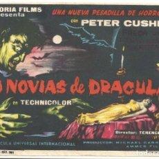 Cine: PTEB 067 LAS NOVIAS DE DRACULA PROGRAMA SENCILLO REY SORIA HAMMER PETER CUSHING. Lote 235201990