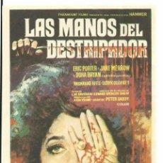 Cine: PTEB 067 LAS MANOS DEL DESTRIPADOR PROGRAMA SENCILLO PARAMOUNT HAMMER JIMMY SANGSTER. Lote 235202220