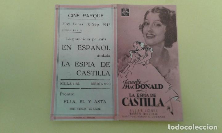 LA ESPIA DE CASTILLA JEANETTE MACDONALD ORIGINAL DOBLE C.P. CINE PARQUE (Cine - Folletos de Mano - Musicales)