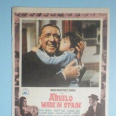 Cine: FOLLETO - PELÍCULA, FILM - LARGOMETRAJE - ABUELO MADE IN SPAIN - KURSAAL 1970. Lote 235336685