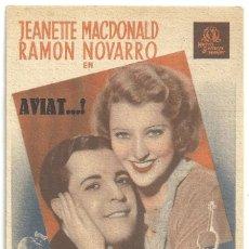 Cine: PTEB 067 EL GATO Y EL VIOLIN PROGRAMA TARJETA MGM JEANETTE MACDONALD RAMON NOVARRO. Lote 235341505