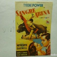 Cine: PROGRAMA SANGRE Y ARENA .-TYRONE POWER PUBLICIDAD. Lote 235351960