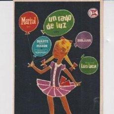 Cine: FOLLETO DE MANO UN RAYO DE LUZ POR MARISOL PUBLICIDAD TEATRO FORTUNY DE REUS. Lote 235493905