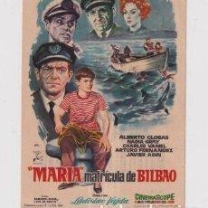 Cine: FOLLETO DE MANO MARIA MATRICULA DE BILBAO CON ALBERTO CLOSAS PUBLICIDAD CINE AVENIDA REUS. Lote 235502105