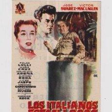 Cine: FOLLETO DE MANO LOS ITALIANOS ESTÁN LOCOS CON JOSE SUAREZ PUBLICIDAD CINE MONTERROSA REUS. Lote 235502520