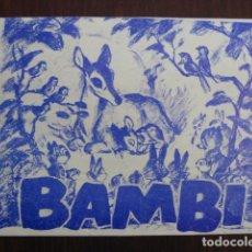 Flyers Publicitaires de films Anciens: BAMBI - FOLLETO MANO ORIGINAL LOCAL - WALT DISNEY - IMPRESO CINE MODERNO LLORET DE MAR. Lote 235679745