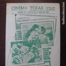 Cine: A LAS 9 CADA NOCHE - FOLLETO MANO ORIGINAL LOCAL - DIRK BOGARDE MARGARET BROOKS IMPRESO CINE TEXAS. Lote 235680685