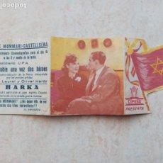Cine: HARKA FOLLETO CINE DOBLE ORIGINAL TROQUELADO CINE MONMARI CASTELLSERA..AÑOS 40. Lote 235962105
