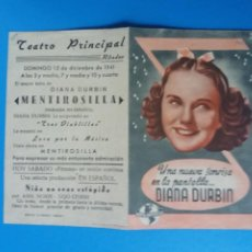 Flyers Publicitaires de films Anciens: MENTIROSILLA DOBLE CON PUBLICIDAD TEATRO PRINCIPAL RIBADEO. Lote 236084630