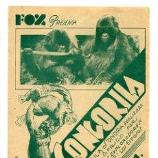 Folhetos de mão de filmes antigos de cinema: CONGORILA, DE MARTIN JOHNSON. PROGRAMA URUGUAYO.. Lote 236098515