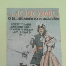 Flyers Publicitaires de films Anciens: EL JOROBADO O EL JURAMENTO DE LAGARDERE ROBERT VIDALIN ORIGINAL SENCILLO CON SELLO EXCLUSIVAS HUET. Lote 236683295