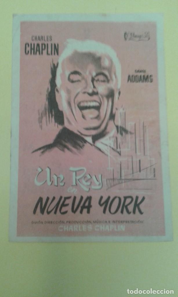UN REY EN NUEVA YORK CHARLES CHAPLIN ORIGINAL C.P CINE COLISEUM ALGUN DEFECTO (Cine - Folletos de Mano - Comedia)
