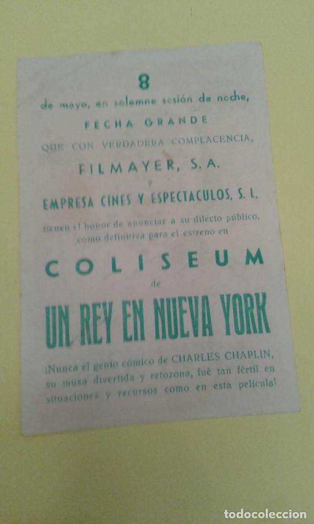 Cine: UN REY EN NUEVA YORK CHARLES CHAPLIN ORIGINAL C.P CINE COLISEUM ALGUN DEFECTO - Foto 2 - 236763300