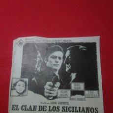 Cine: PROGRAMA DE CINE ,PAPEL ANTIGUO ,( EL CLAN DE LOS CICILIANOS )ALAIN DELON 16X16CM. Lote 236862250