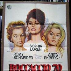 Cine: BOCACCIO 70, CON SOFIA LOREN. POSTER 69 X 98,5 CMS. DISEÑO: JANO 1975.. Lote 236954115
