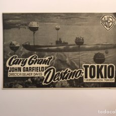 Cine: CINE REX CASTELLÓN. CARY GRANT EN DESTINO: TOKYO, FOLLETO DE MANO (A.1951). Lote 236995870