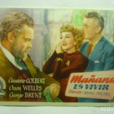 Foglietti di film di film antichi di cinema: PROGRAMA MAÑANA ES VIVIR-ORSON WELLES PUBLICIDAD. Lote 237308600