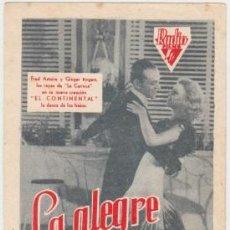 Flyers Publicitaires de films Anciens: LA ALEGRE DIVORCIADA (CON PUBLICIDAD). Lote 237392210