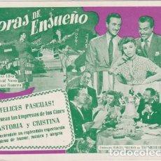 Flyers Publicitaires de films Anciens: HORAS DE ENSUEÑO (CON PUBLICIDAD). Lote 237393185