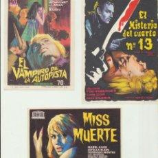 Flyers Publicitaires de films Anciens: LOTE DE 3. EL VAMPIRO DE LA AUTOPISTA, MISS MUERTE Y EL MISTERIO DEL CUARTO N.º 13. Lote 237528820