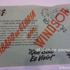 Cine: QUE BELLO ES VIVIR. FRANK CAPRA. FOLLETO ESTRENO WINDSOR. BARCELONA. PAPEL FINO. Lote 237547265